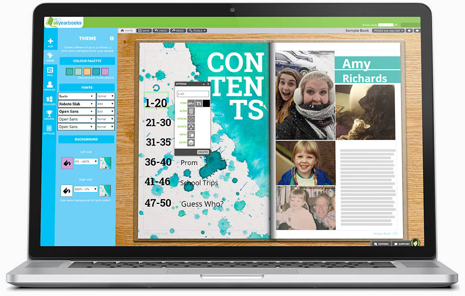 Online yearbook creation system shown on laptop